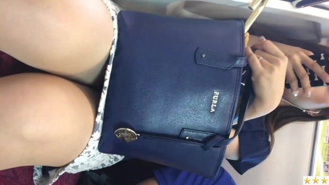 Japanese office lady in pantyhose on the train