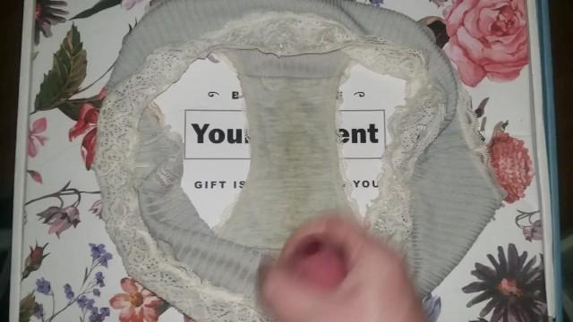 Cumshot on her dirty panties while friend was bathing