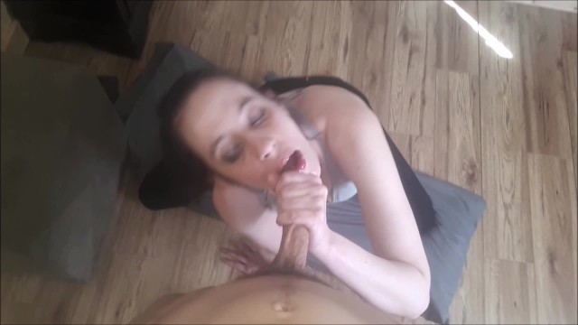 Sloppy deeptroat wet blowjob spitting gagging POV amateur babe cum in mouth