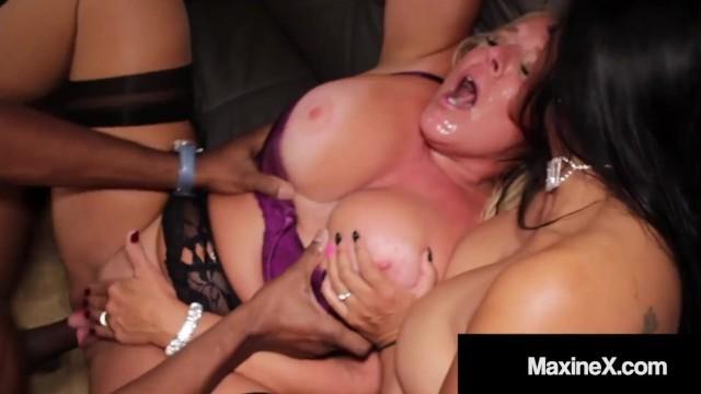 Hot Asian MaxineX & Milf Alexis Golden Do 5 Black Cock Orgy!