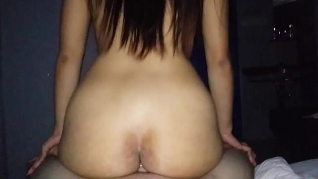little asian bouncing on white dick