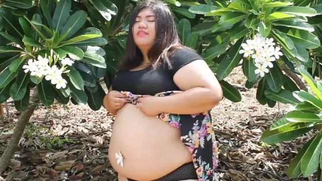 Fat Asian BBW in Garden
