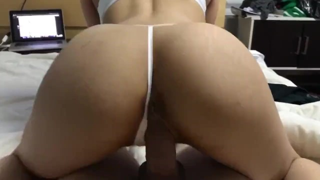 Asian babe pulls her panties to the side for a big cock