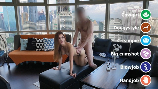 High-rise sex with your Asian girlfriend (with cowgirl creampie)